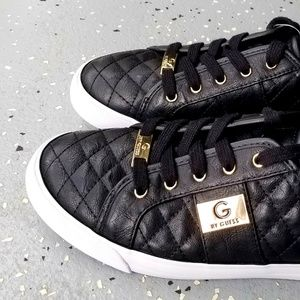 Black & Gold Quilted Sneakers